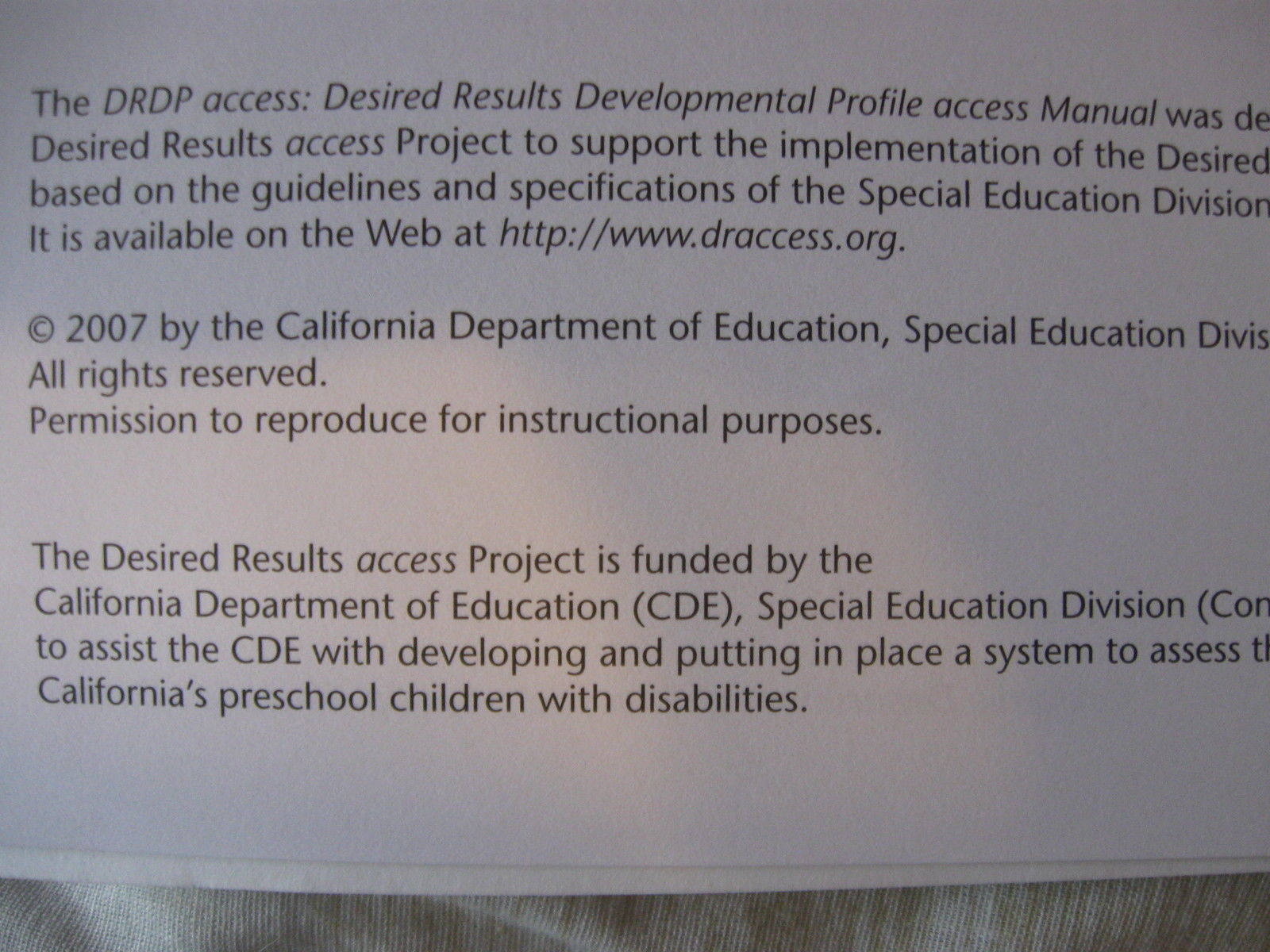 DRDP Desired Results Developmental Profile Access Manual Ca Dept of Ed CL2-11 |