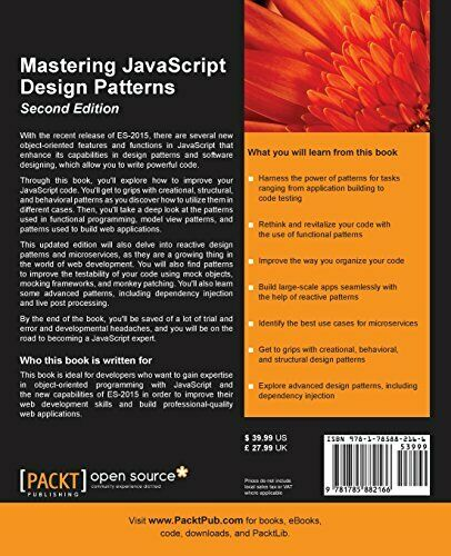 MASTERING JAVASCRIPT DESIGN PATTERNS – SECOND EDITION By Simon Timms *Excellent* |
