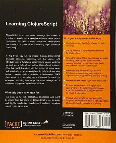 LEARNING CLOJURESCRIPT By Rafik Naccache *Excellent Condition* |