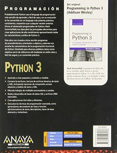 PYTHON 3 / PROGRAMMING IN PYTHON 3 (SPANISH EDITION) By Mark Summerfield **NEW** |