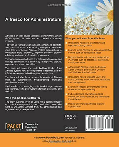 ALFRESCO FOR ADMINISTRATORS By Vandana Pal *Excellent Condition* |