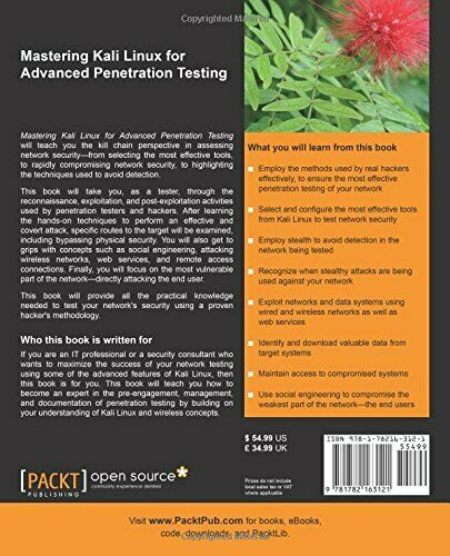 MASTERING KALI LINUX FOR ADVANCED PENETRATION TESTING By Robert W. Beggs *VG+* |