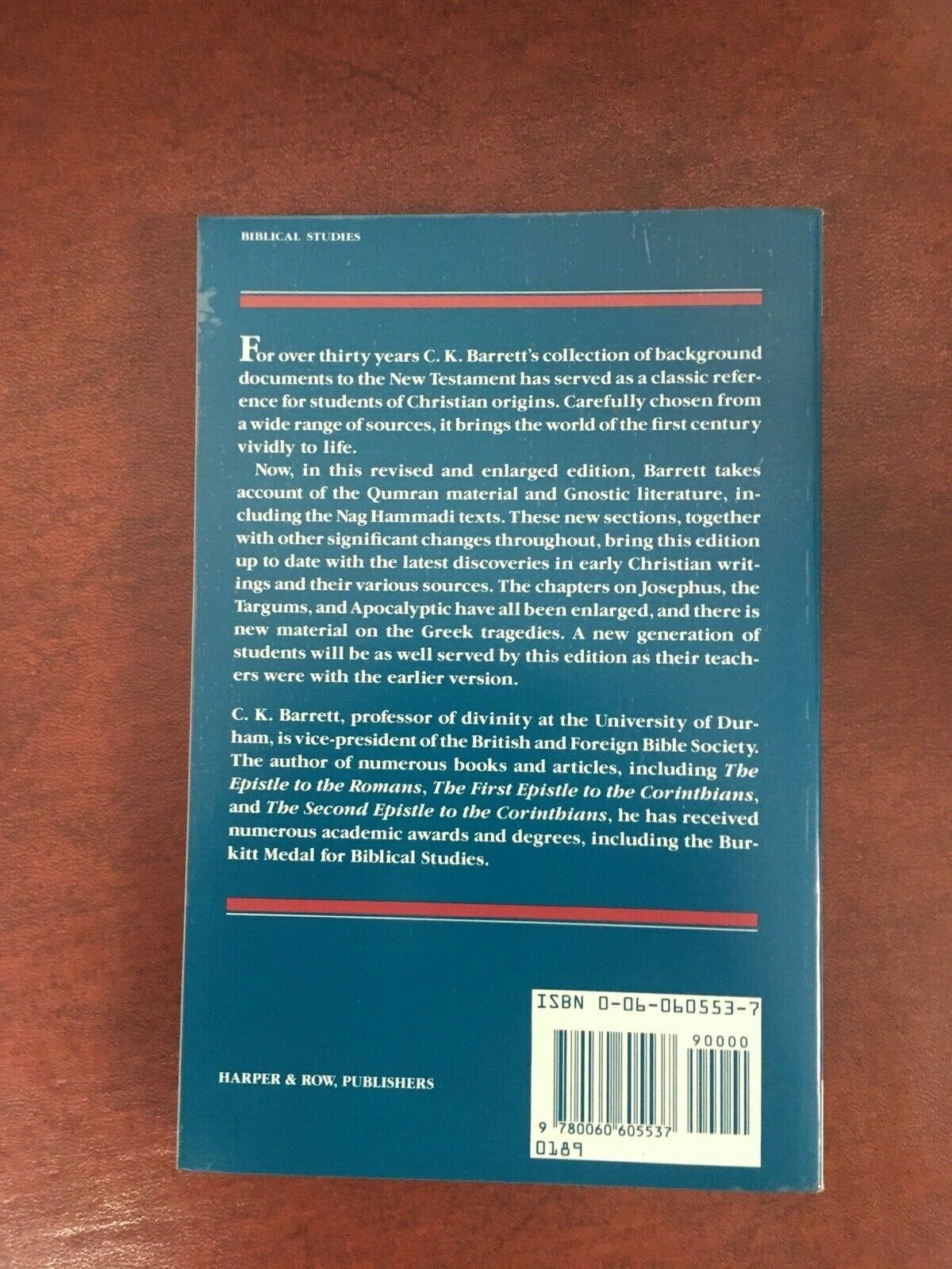 The New Testament Background : Selected Documents by C. K. Barrett (1989,… |