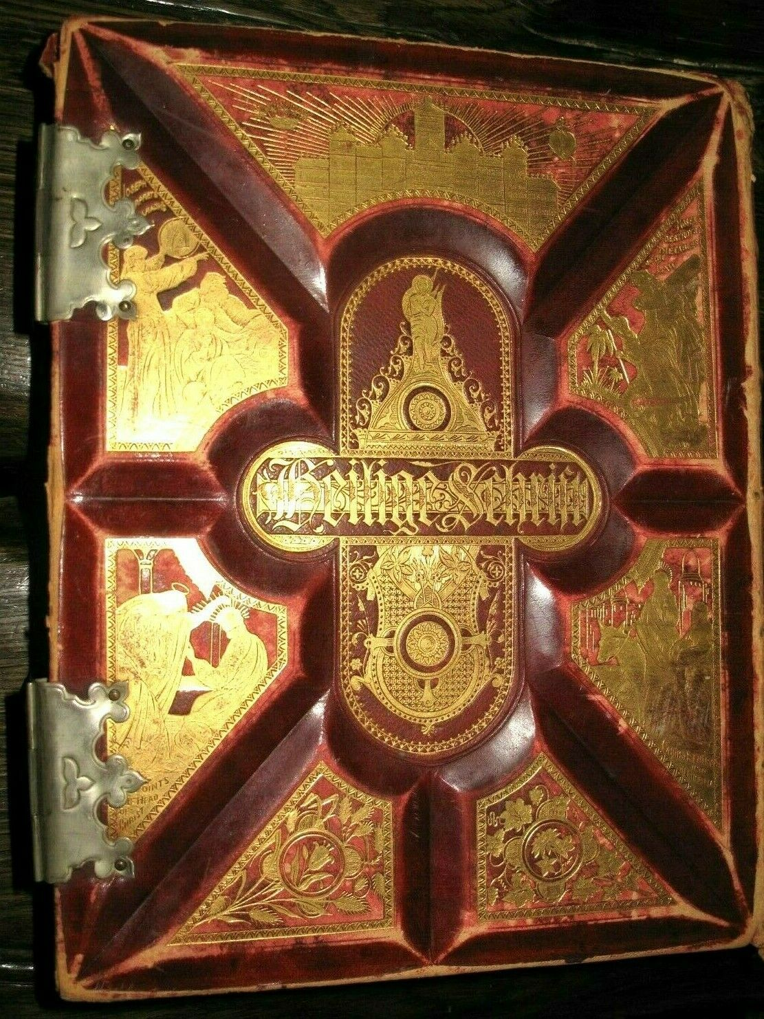 c1875 FAMILY Victorian HOLY BIBLE Fine Binding GERMAN American UNMARKED Dore OLD |