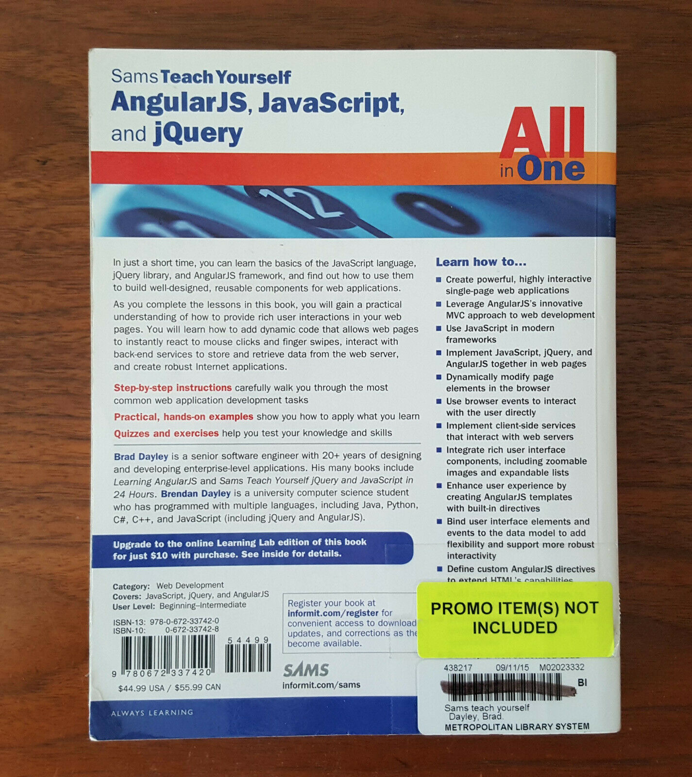 Sams Teach Yourself All in One AngularJS Java Script and jQuery Book Only  
