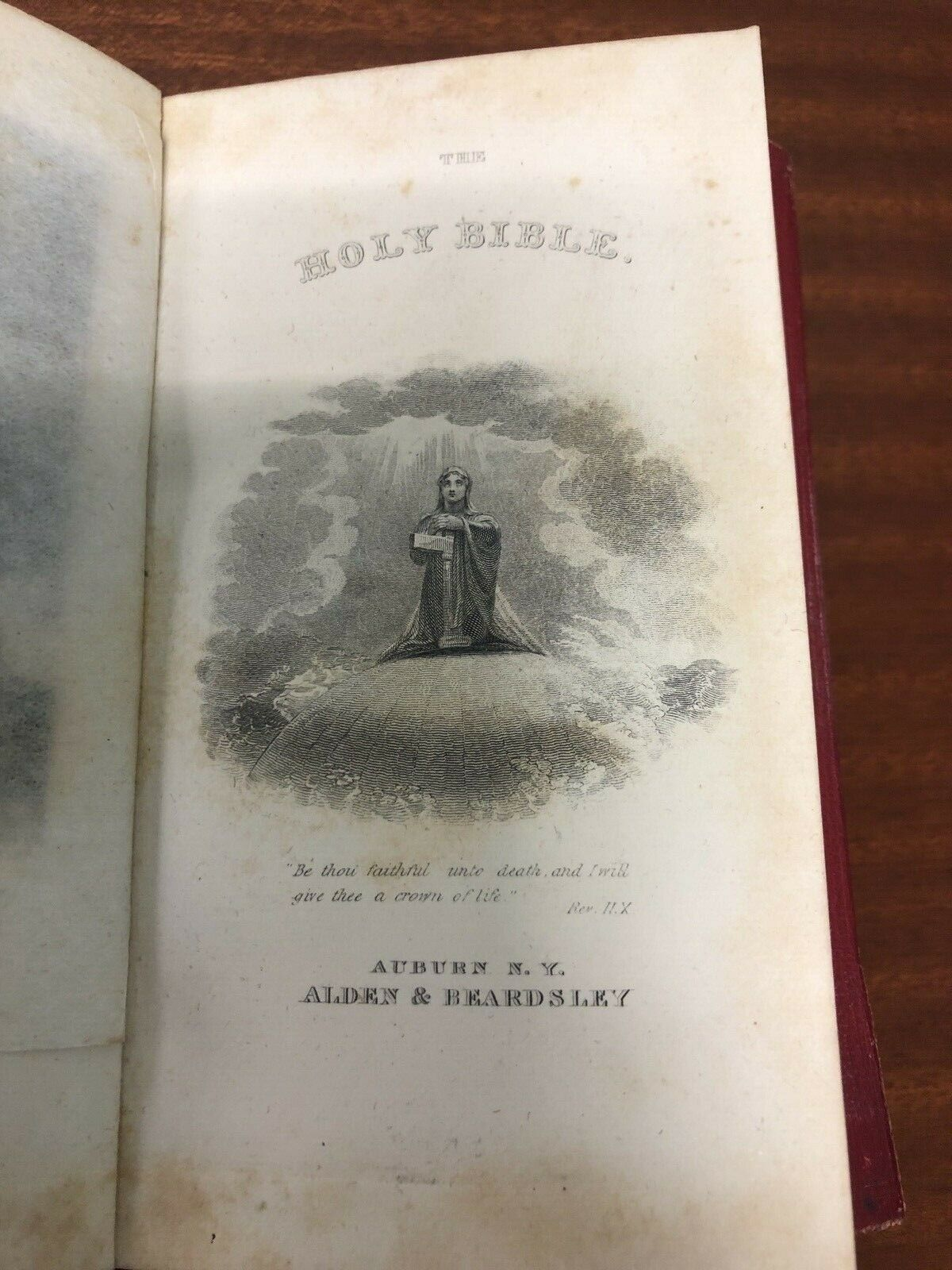 19c 1857 BIBLE Antique Red Leather Gilt Pages Pocket Sized *EXCELLENT CONDITION* |