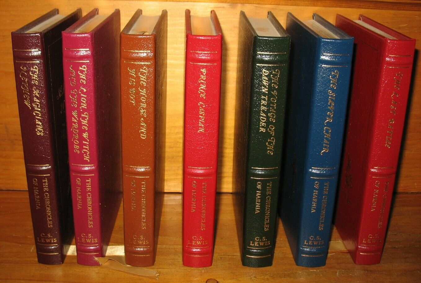 7 vol. set Easton Press Chronicles of Narnia by C.S. Lewis Leather Excellent |