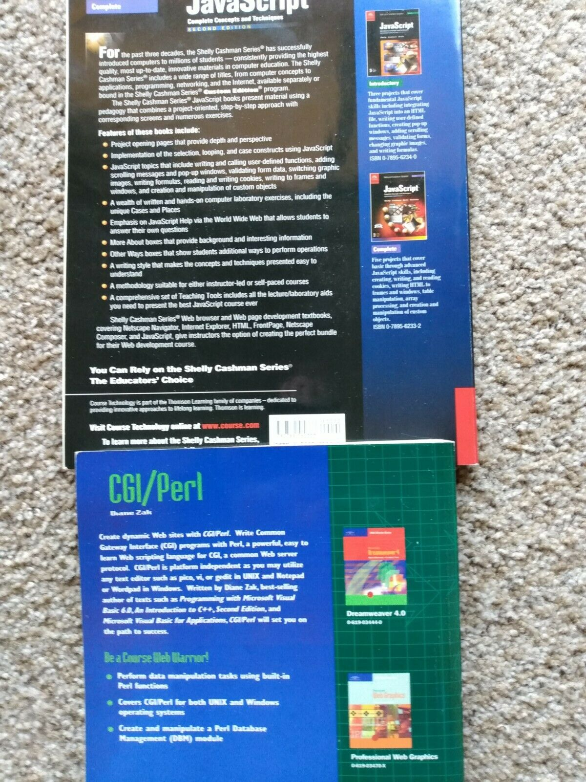 JavaScript and CGI Perl programming books: Great condition! |