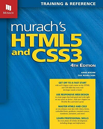 MURACH'S HTML5 AND CSS3, 4TH EDITION By Zak Ruvalcaba **Mint Condition** |