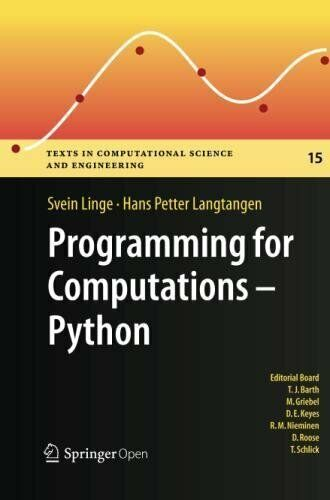 PROGRAMMING FOR COMPUTATIONS – PYTHON: A GENTLE INTRODUCTION TO By Hans NEW |